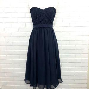 Mori Lee Strapless Chiffon Dress Navy Blue Size 8